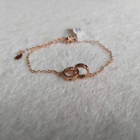 Nowa pozłacana srebrna bransoletka 925 prezent Dzień Kobiet