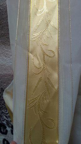 Тюль готовая,белая с золотом