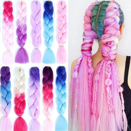 Канекалоны канекалон цветные косички пряди яркие дрейды косы плетение