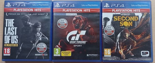 Gry na ps4 - GRAN TURISMO SPORT, The Last of Us, inFAMOUS Second Son