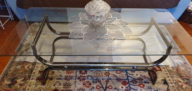 Mesa frente de sofá em vidro vintage