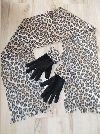 Komplet: szal+rękawiczki, czarny, panterka, polar, ciepły, NOWY