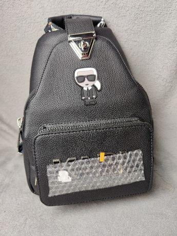 Plecak skórzany Karl Lagerfield skóra torba z zapieciem HIT Premium
