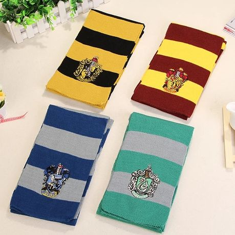 Cachecol Harry Potter Gryffindor, Hufflepuff, Slytherin e Ravenclaw