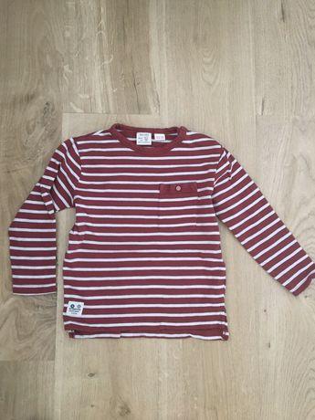 Bluzeczka Zara czerwona paski 98