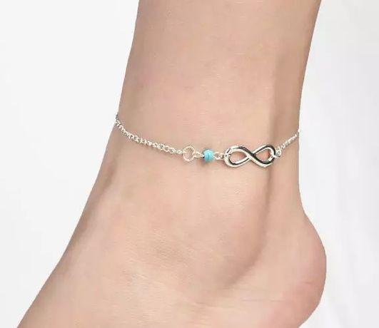 Nowa bransoletka nieskończoność na nogę