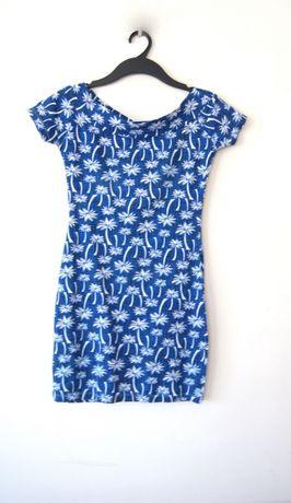niebieska kobaltowa hawajska sukienka tunika 34 36 xs s w palmy kwiaty