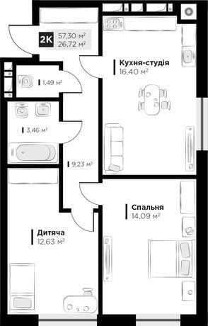 Продаж 2 кім квартири ARTHOUSE park вул Малоголосківська 57м2