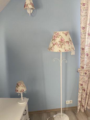 Komplet ZESTAW lampa stojaca + nocna+kinket Kwiaty Retro biała róże