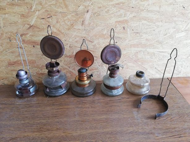 Stare lampy naftowe lampka lampa naftowa części brener zbiorniczek PRL