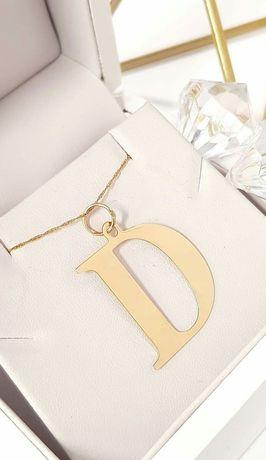 Złota zawieszka literka D Próba 585 14k złoto