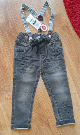 r.86 Cool Club Smyk spodnie jeans szelki szare nowe