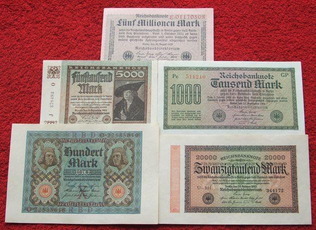 STARE NIEMCY Kolekcjonerskie Banknoty Zestaw - 5 sztuk UNC