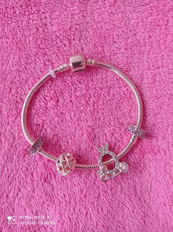 NOWA bransoletka charms typu Pandora, kolor różowe złoto.
