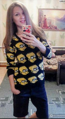 Прикольный свитер кофта с Симпсонами Новый  верх Симпсоны принт м л