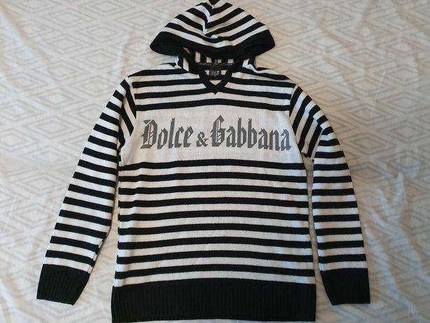 Bluza z kapturem sweter Dolce & Gabbana M L 40 D&G bluzka w paski