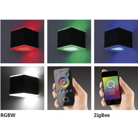 Czarny kinkiet LED IP 44 RGB pilot smartfon 9700-13 Q-AMIN zigbee