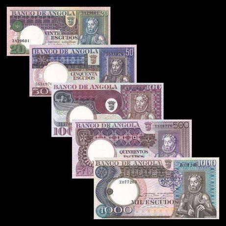 Angola 1973 Camões UNC Novas Notas Escudos 20, 50, 100, 500, 1000