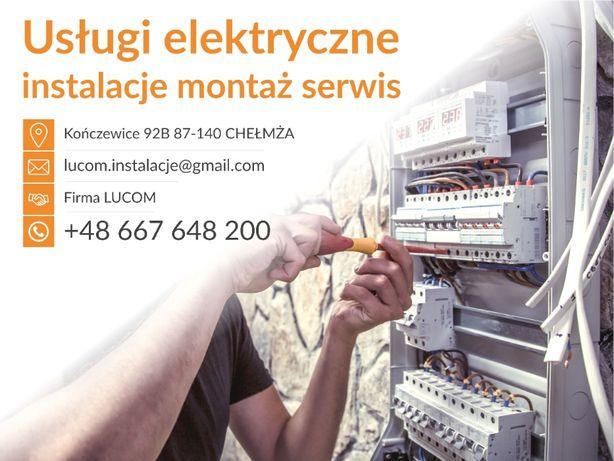 Usługi elektryczne instalacje, montaż, serwis. Chełmża Toruń