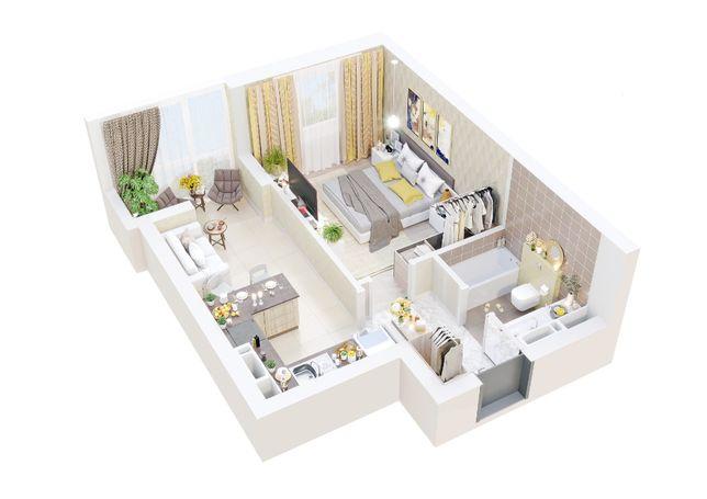 1 комнатная квартира 16380 у.е. с Автономным отоплением