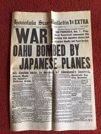 "OKAZJA ! Reprinty ""Honolulu Star"" 7.12.1941 atak na Pearl Harbor"
