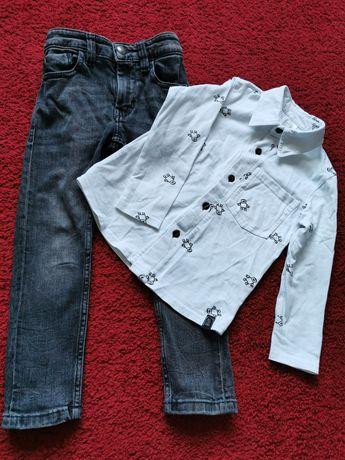 Zestaw Koszula All for Kids, spodnie jeansowe Next 110