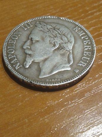 5 Franków 1868 srebro 25 g pr 900 Napoleon 3 mennica BB