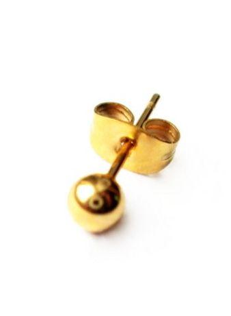 Kolczyk męski damski kulka złota 4mm stal 316 L