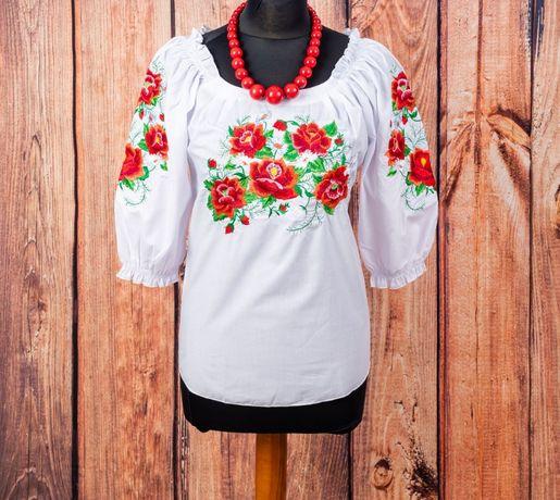 J02- XXL, 3XL, 4XL Bluzka góralska haftowana kwiaty folk plus size