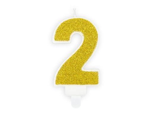 Świeczka cyferka złota brokat na 1 urodziny. LIKWIDACJA SKLEPU. Okazja