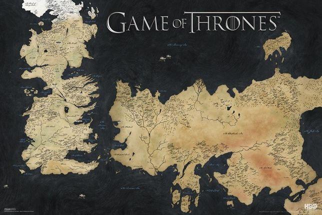Plakat Gra o Tron Mapa Essos i Westeros game of thrones obraz obrazek