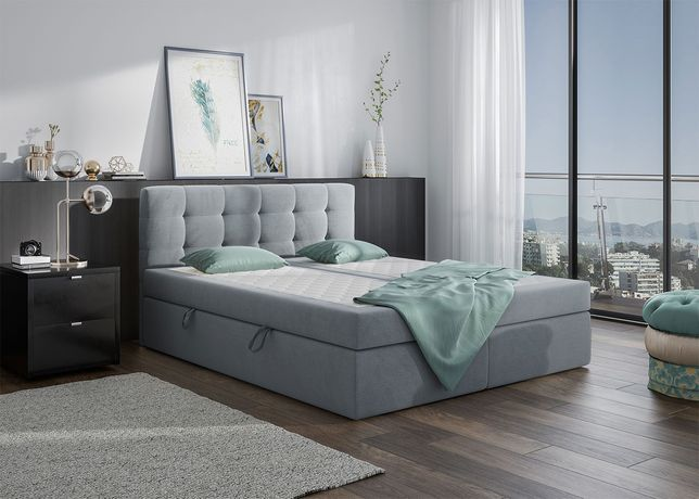 Łóżko tapicerowane, kontynentalne 180x200 SZARE, dostawa za darmo!