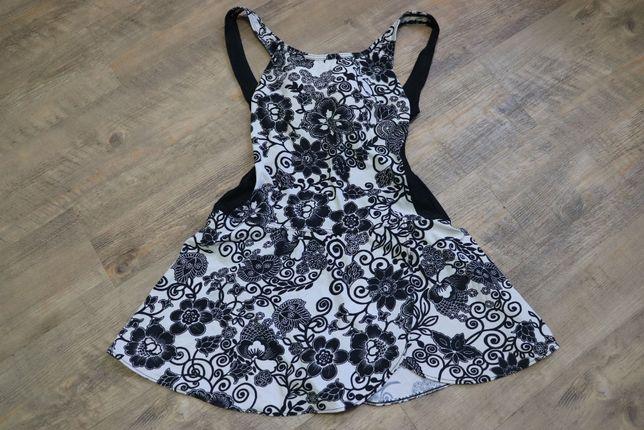 Черно-белый цельный купальник-платье с чашками