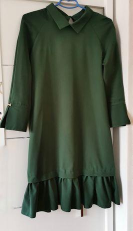 Sukienka falbanka butelkowa zieleń M