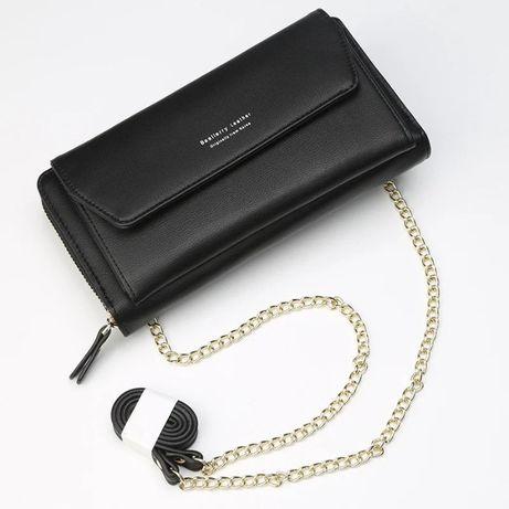 Стильный женский клатч-кошелёк черный