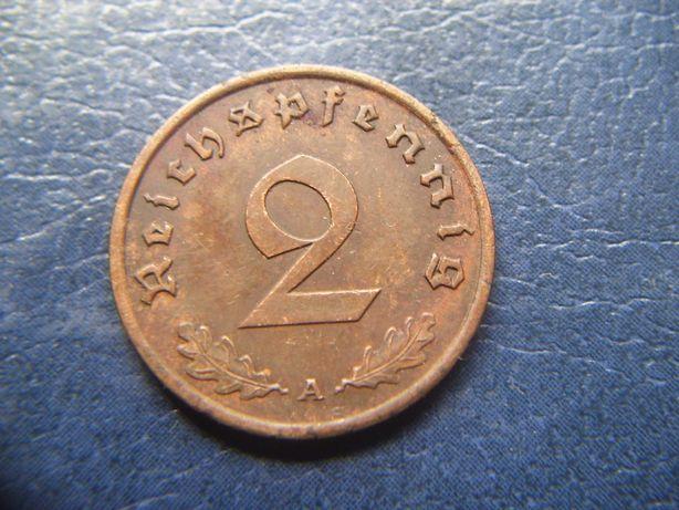 Stare monety 2 reichsfenigi 1940 A Niemcy