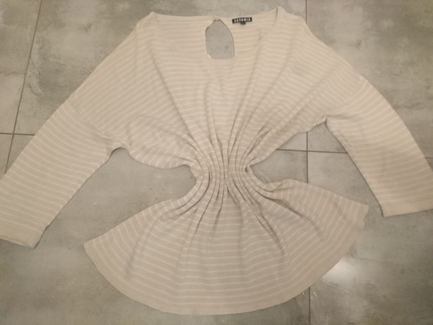 Beżowa dzianinowa bluzeczka w paski r. /Xl