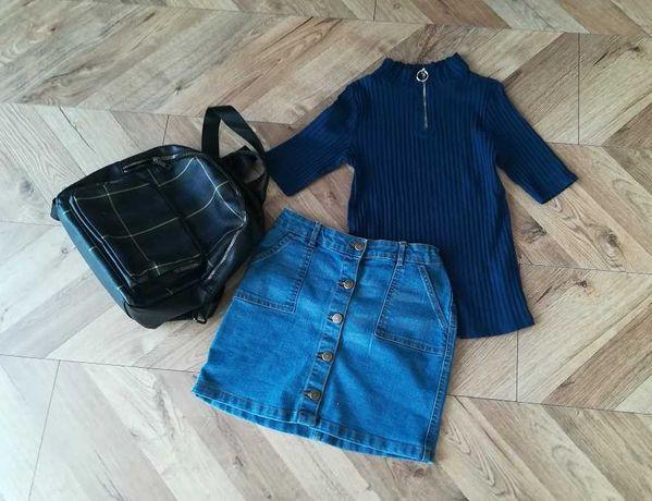 Zestaw na jesień jeansowa spódniczka i firmowa koszulka rozm. 146