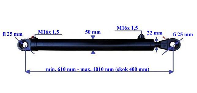 Siłownik hydrauliczny dwustronnego działania CIENKI wysuw 400 mm
