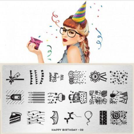 Пластина Moyou Happy Birthday 02 + слайдер+кисть для ногтей стемпинг