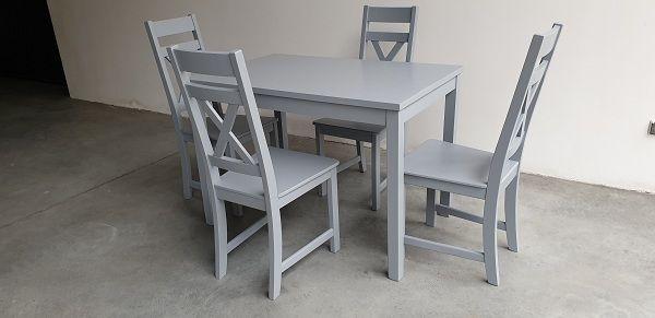 Zestaw prowansalski szary-4 krzesła Krzyż + stół do kuchni restauracji