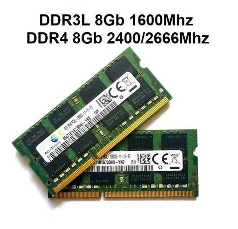 Portátil Memórias RAM DDR3L e DDR4 1600/2400/2666Mhz 8Gb e Discos SSD