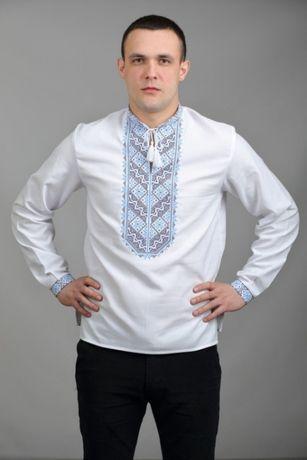 Сучасна чоловіча вишиванка на домотканому р. 48 - 50 сорочка вишита