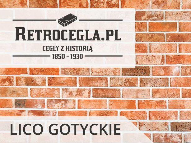 Płytki retro, lico gotyckie ze starej cegły rozbiórkowej