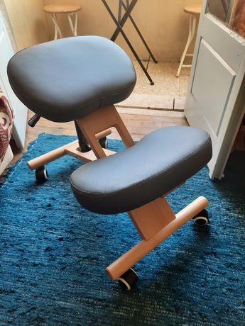 Cadeira ergonómica com o joelho hidráulico cinzenta nova