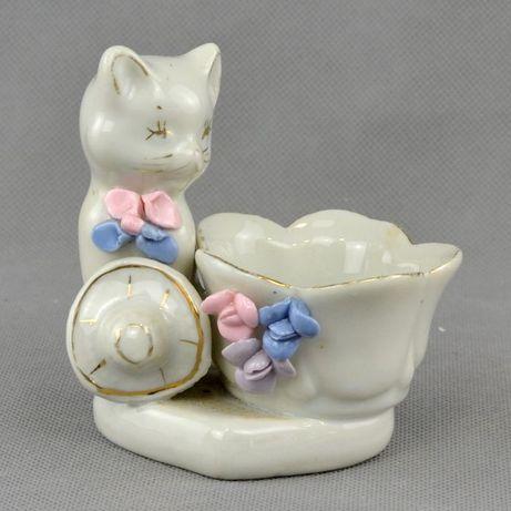Saleiro Vintage em Porcelana em forma de Gato e Cesto