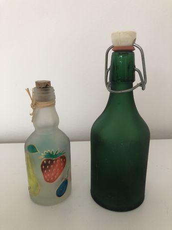 Małe ozdobne butelki buteleczki malowane szkło zestaw 2szt. 24cm 10,5c