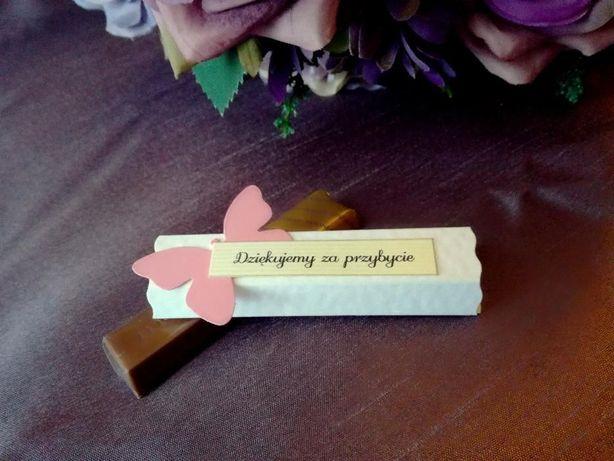 Promocja !!! Owijki na czekoladki, podziękowania dla gości z motylkiem