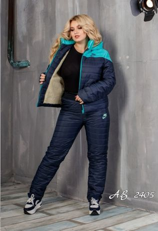 Теплый костюм, куртка и штаны, дутый на синтепоне лыжный зимний овчина