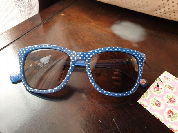 Okulary słoneczne Cath Kidston niebieskie w białe groszki